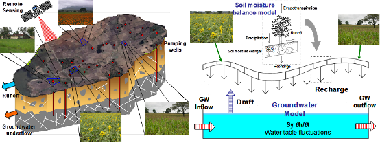 Conceptual model for evapotranspiration and recharge fluxes for various plots in the distributed hydrological model (DHM).